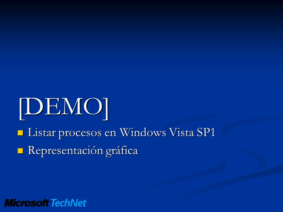 [DEMO] Listar procesos en Windows Vista SP1 Representación gráfica